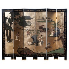 1970s Polychromed Gold Leaf Chinoiserie Double Face Folding Green / Room Divider