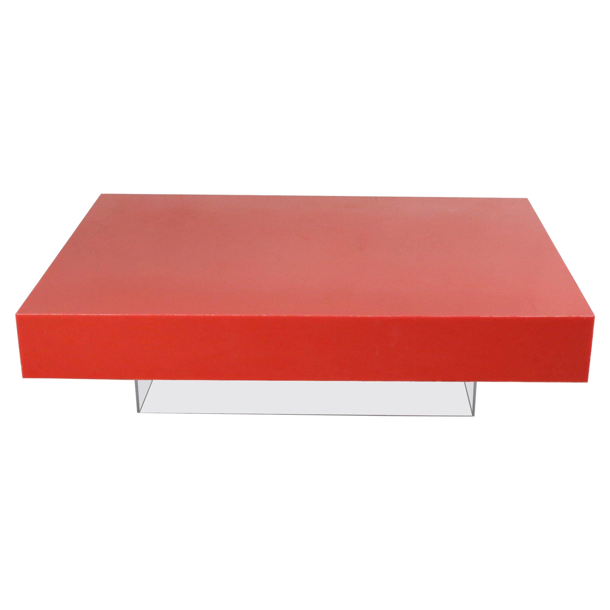 Contemporary Modernist Red Lacquer and Lucite Low Coffee Table