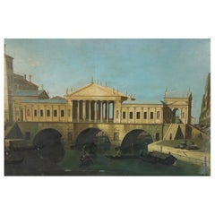 Venetian Style Classic Columned Building Over Canal Painting on Canvas