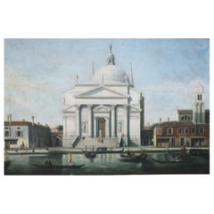 White Domed Church on Venetian Canal Oil Painting on Canvas