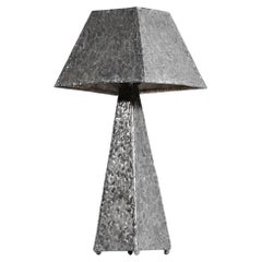French Brutalist Desk or Occasional Lamp in Zinc from the 80s