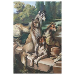 Dogs Gathered on Steps Portrait Oil Painting on Canvas