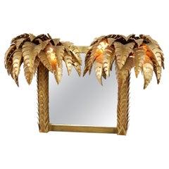 1970 'Illuminating Palm Tree Mirror Unique and Original Piece by Barbier, Jansen