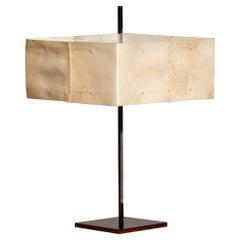 1970s Italian Chrome Minimalist Table / Desk Lamp with Goatskin Square Shade