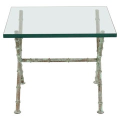 Patinated Faux Bamboo and Glass Rectangular Coffee Table (manner of Alberto