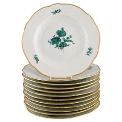 Twelve Antique Meissen Plates in Porcelain with Hand-Painted Flowers