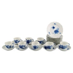 Royal Copenhagen Blue Flower Curved Coffee Service for Eight People, 1980s