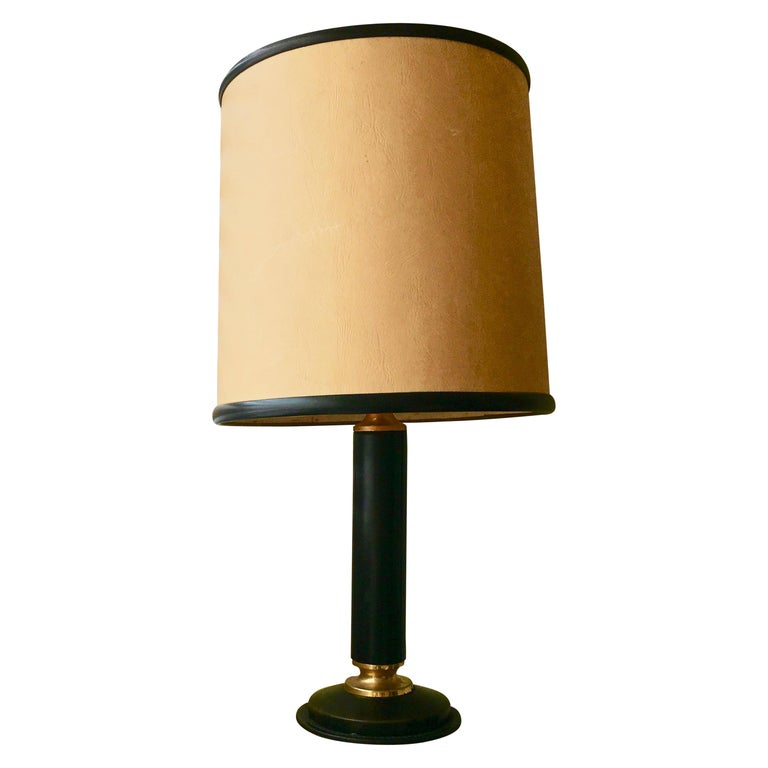 Black Leather Desk Lamp with Brass Details by Jacques Adnet, France, 1950 For Sale
