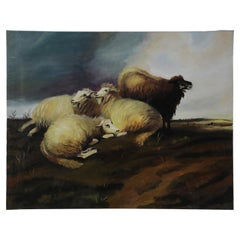 Group of Sheep in Field Oil Painting on Canvas