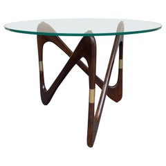 Italian Mid Century Wood and Brass Coffee Table by Fontana Arte, Italy, 1950s