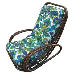 Mid-Century Modern Italian Bamboo Armchair with Original Floral Cushion, 1970s
