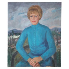 Portrait of a Woman in a Blue Dress Painting on Canvas