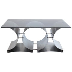 Steel and Glass Coffee Table by Francois Monnet for Kappa, French, c. 1970