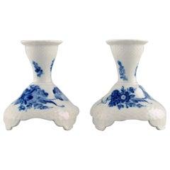 Two Royal Copenhagen Blue Flower Curved Candlesticks, Model Number 10/1711