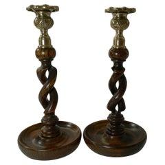 Pair Antique English Oak Barley Twist Candlesticks, Brass Thistle Tops