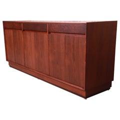 John Stuart Mid-Century Modern Walnut and Burl Wood Sideboard Credenza