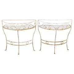 Pair Wrought Iron Demi Lune Tables in the Manner of Salterini