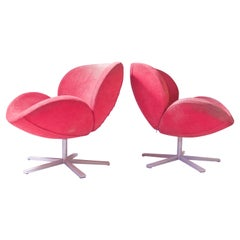 Vintage Pair Tulip Swivel Lounge Chairs in the Manner of Pierre Paulin