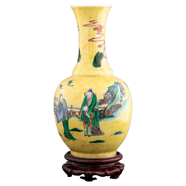 Chinese Famille Jaune Porcelain Baluster Vase