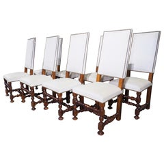 Set of 8 French Louis XIV Style Oak Dining Chairs, circa 1920
