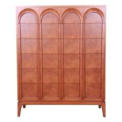 Thomasville Mid-Century Modern Burled Walnut Highboy Dresser, Newly Refinished