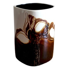 Royal Copenhagen Fajance by Ellen Malmer White and Brown Vase 668/ 3685