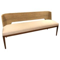 Chic Organic Modern Woven Rattan Bamboo and Upholstered Bench Sofa