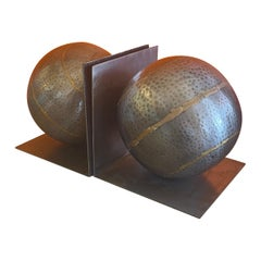 Pair of Minimalist Bookends in Zinc and Brass by Arterriors