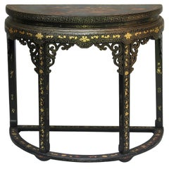 Chinese Export Gilt Lacquer Decorated Demi-lune Console Table Early 19th Century