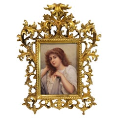 Continental Porcelain Plaque of a Young Beauty, 19C