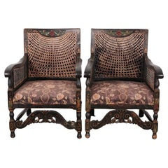 Pair of Ebonized and Caned Regency-Revival Armchairs