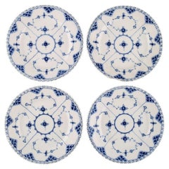 Four Antique Royal Copenhagen Blue Fluted Full Lace Plates, 19th Century