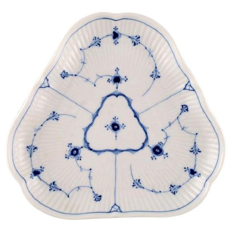 Antique Triangular Royal Copenhagen Blue Fluted Plain Dish, Mid-19th Century