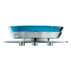 Round Table Limited Edition Aquamarine Centerpiece by Ettore Sottsass
