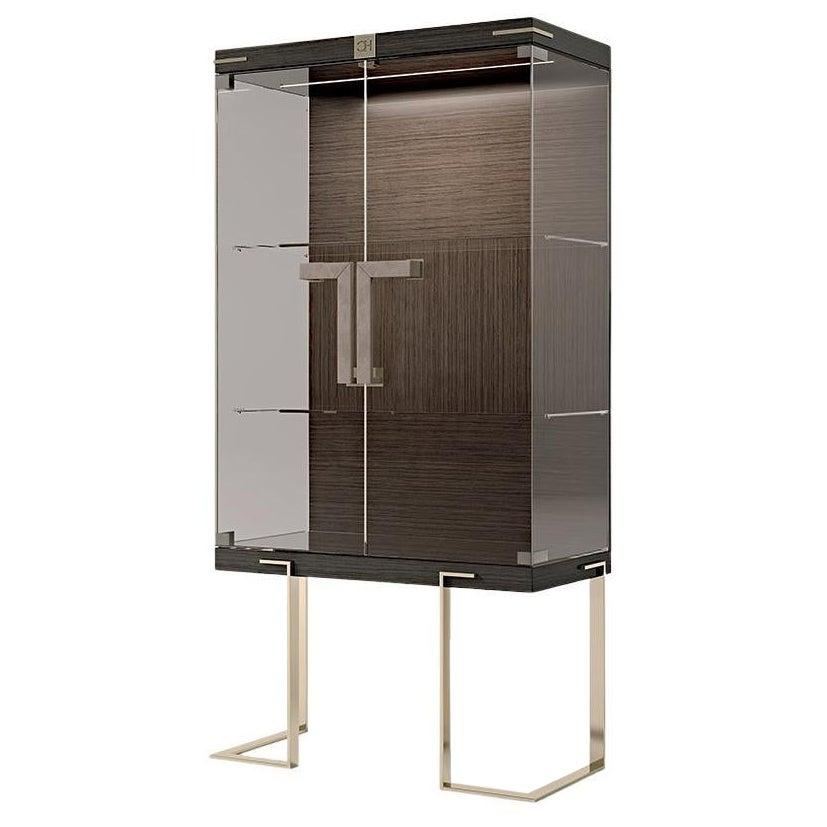 21st Century Carpanese Home Italia Glass Cabinet with Metal Legs Modern, 7901
