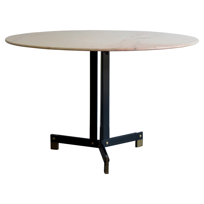 Italian Marble Round Midcentury Dining Table, 1950s