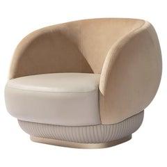 21st Century Carpanese Home Italia Upholstered Armchair Modern, Moon
