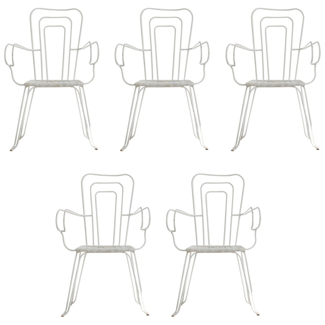 Set of 5 White Garden Chairs with Woven Plastic Seats, Italy, 1960s