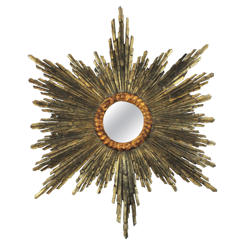 Spanish Baroque Sunburst Starburst Mirror, Silver and Gold Leaf Giltwood