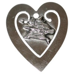 Novelty Sterling Silver Heart-Shaped Bookmark, Witch and Broomstick, c.1920