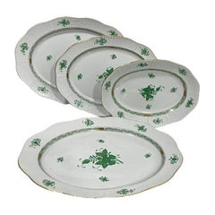 """Herend Hungary Porcelain """"Chinese Bouquet Apponyi Green"""" Serving dishes"""
