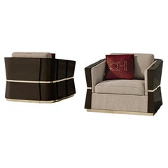 21st Century Carpanese Home Italia Armchair with Wooden Frame Modern, 7537