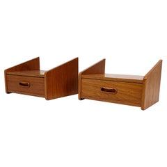 Set of Bedside Tables with Drawer in Teak of Danish Design, 1960s