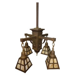 Arts & Crafts Mission Brass Chandelier with 4 Slag Glass Shades C1905
