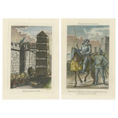 Set of 2 Antique Military Prints by Grose '1812'