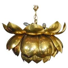 Brass Lotus Pendant Light by Feldman Lighting in the Style of Parzinger
