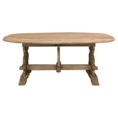 Rustic Dutch Drop Leaf Oval Dining Table in Stripped Oak
