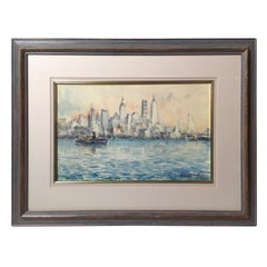 Mid-Century Original Watercolor of the New York City Skyline Signed Lower Right