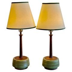 Unusual Pair of Sculptural Ceramic Lamps
