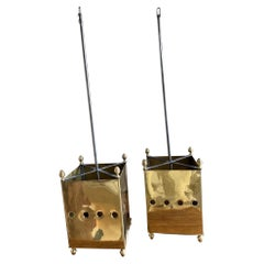 Pair of French Brass Lanterns Chandeliers Maison Bagues Style